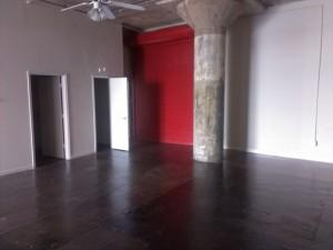 Red Garage Door in Loft