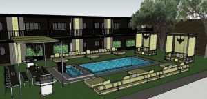 Courtyard and Pool Area Rendering